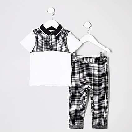 Mini boys grey check polo shirt outfit