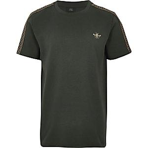 T-shirt kaki avec motif guêpe brodé pour garçon