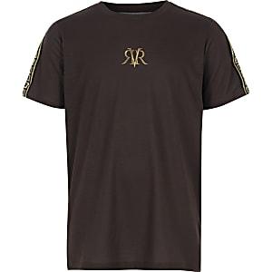 T-shirt marron avec bandes latérales et logo pour garçon
