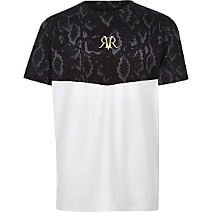 Boys white block snake print T-shirt