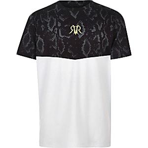 T-shirt imprimé serpent color block blanc pour garçon