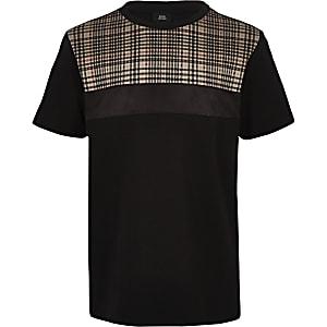 Zwart geruit T-shirt met blokprint voor jongens