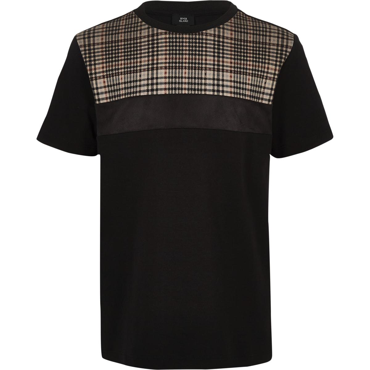 Boys black check block T-shirt