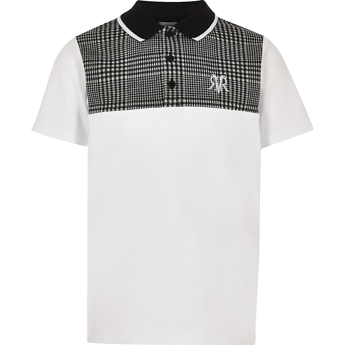 Boys grey check blocked polo shirt