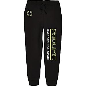 Zwarte joggingbroek met neon- en 'Prolific'-print voor jongens