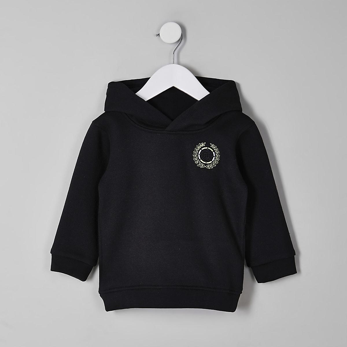 Mini boys black embroidered hoodie
