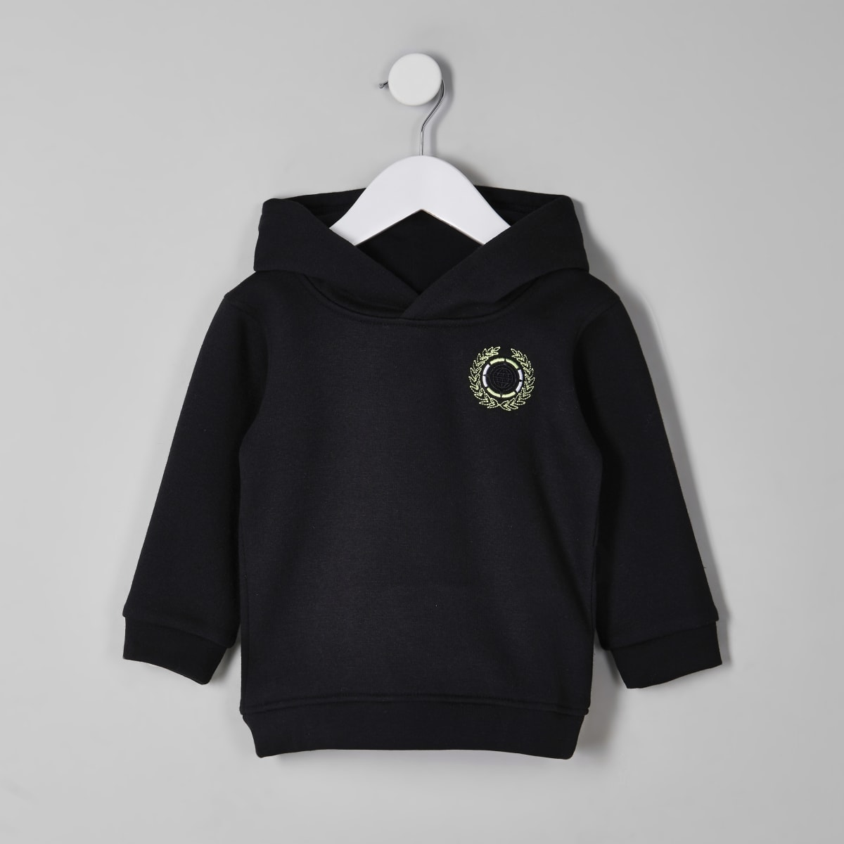 Mini boys black embroidered hoodie