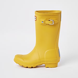 Kids Hunter Original yellow wellington boots