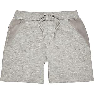 Grijze short met paneel van velours voor jongens