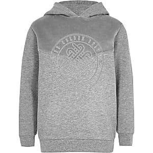 Grijze velours hoodie met kleurvlakken voor jongens