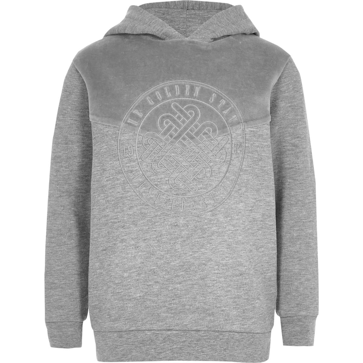Boys grey velour block hoodie