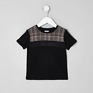 Mini - Zwart geruit T-shirt met blokprint voor jongens