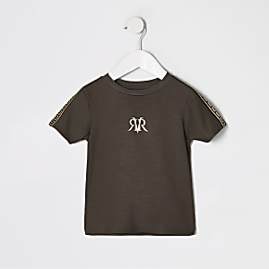 Mini boys brown RI tape T-shirt