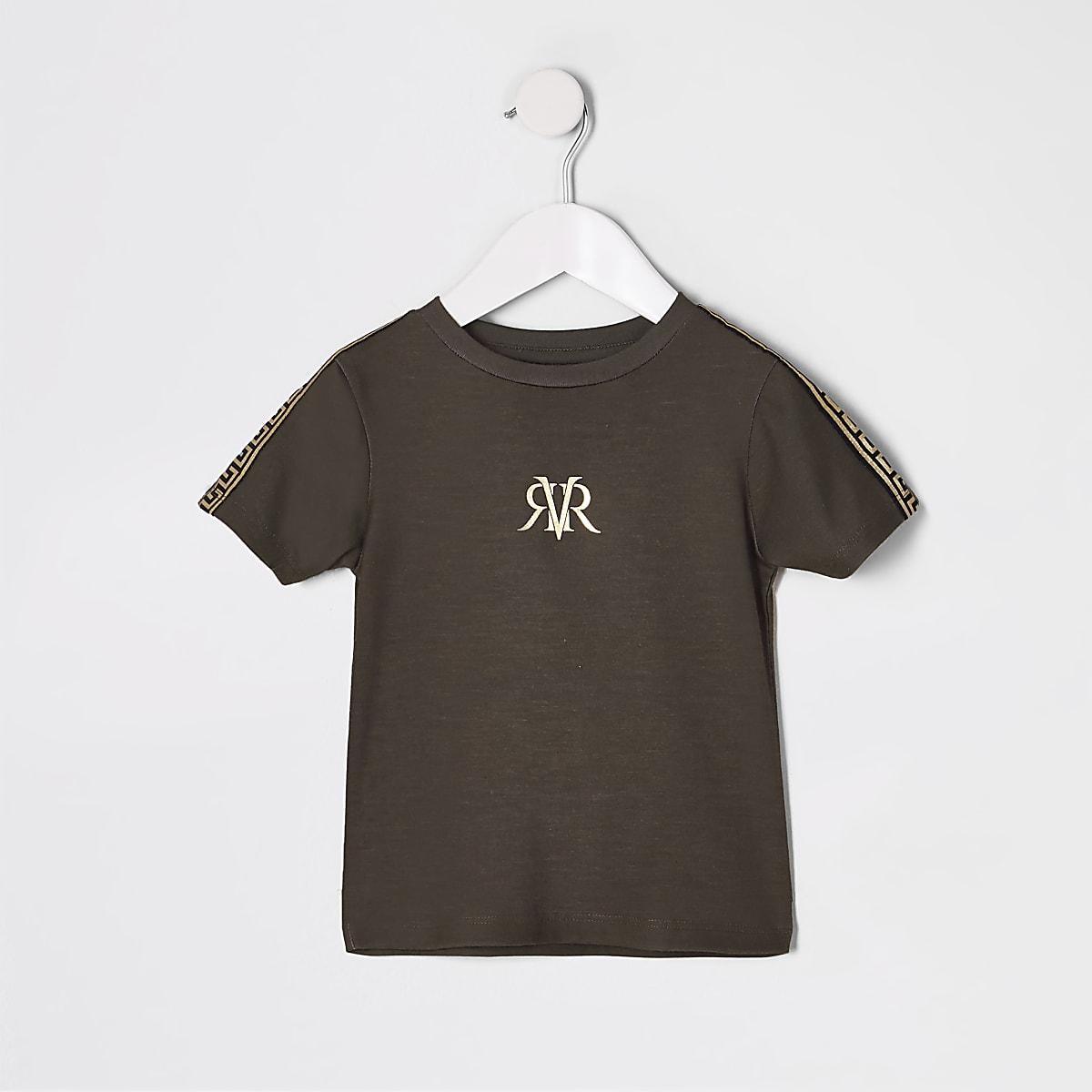 Mini boys brown RI tape T-shirt