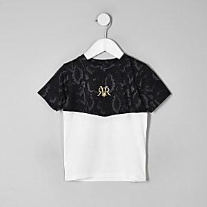 Mini - Wit geblokt T-shirt met slangenleerprint voor jongens