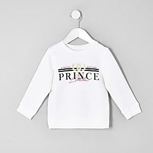 Mini - 'Little prince' sweatshirt in wit voor jongens