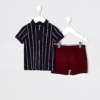 Mini boys navy stripe polo shirt outfit