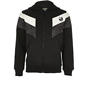 RI Active – Sweat à capuche colour block noir zippé pour garçon