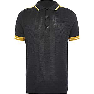 Boys navy cable polo shirt