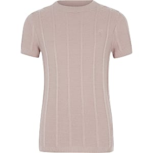 Boys pink knitted T-shirt