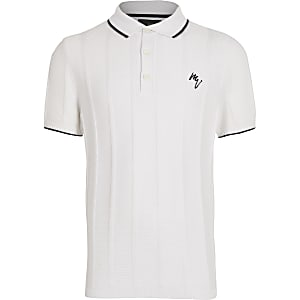 Boys white logo chest print polo shirt