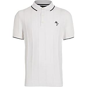 Boys white logo chest print polo shirt