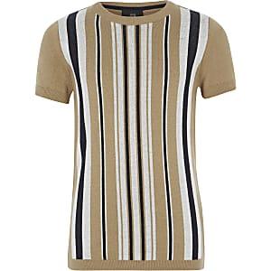 T-shirt en maille rayé marron pour garçon