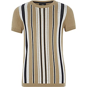 Bruin gestreept gebreid T-shirt voor jongens