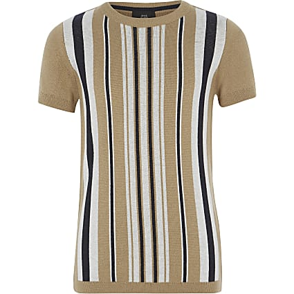 Boys brown stripe knitted T-shirt
