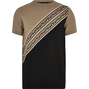 T-shirt en maille marron à logo RI pour garçon