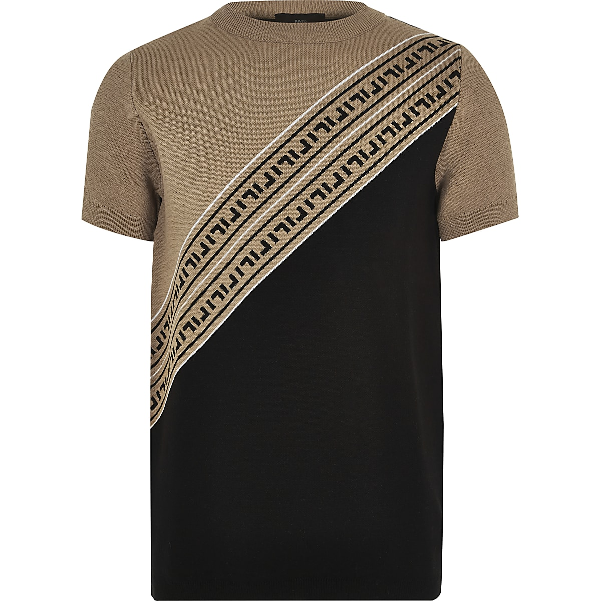 Boys brown RI knitted T-shirt