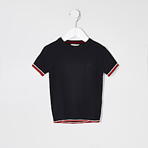 Mini boys navy cable knit T-shirt