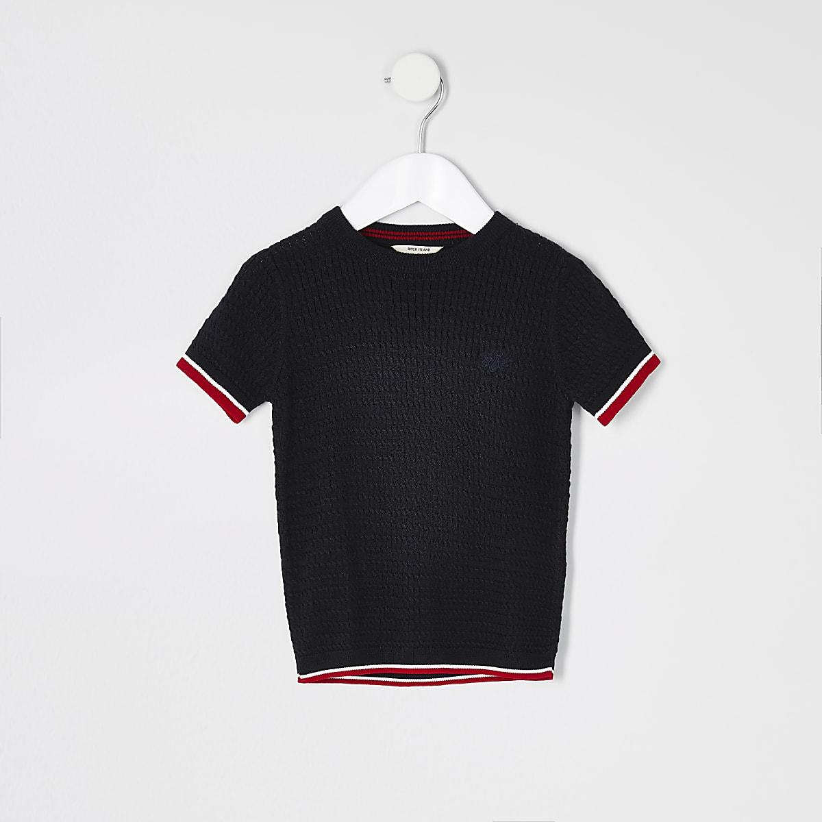 Mini boys navy cable knit T-shirt