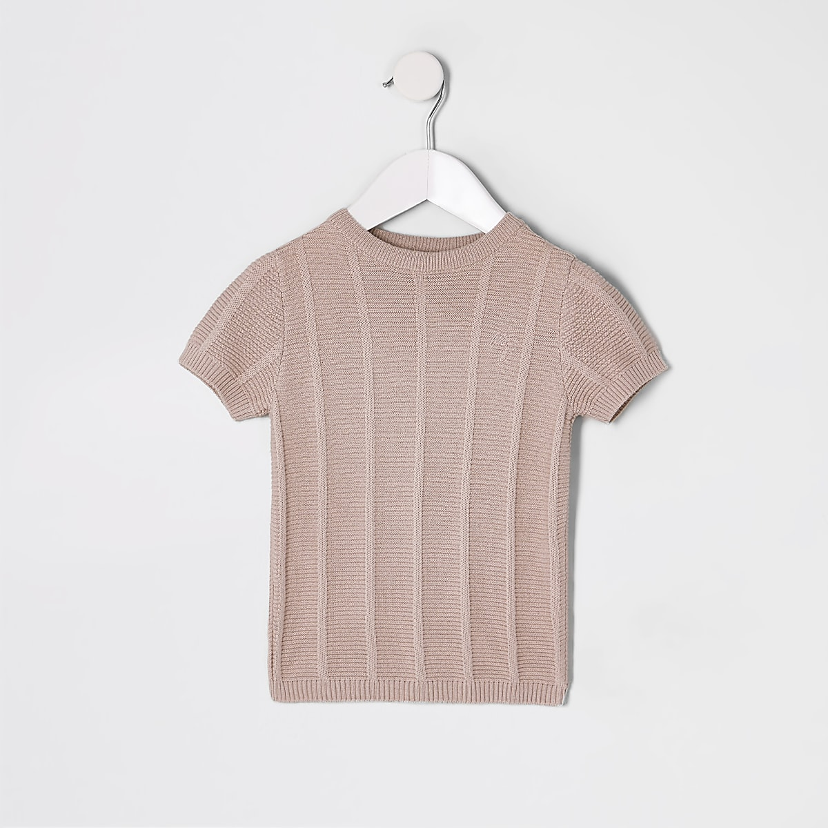 Mini boys pink ladder stitch top