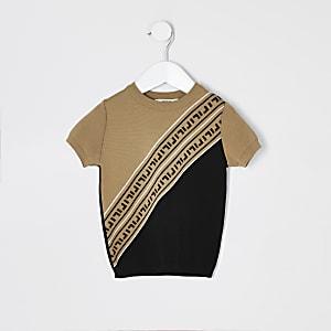 Mini - Bruin T-shirt met gebreide RI-print voor jongens