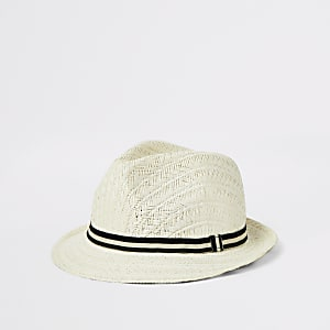 Mini boys light brown straw hat