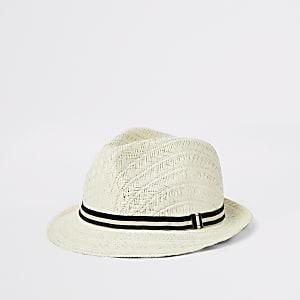 Chapeau de paille marron clair pour mini garçon