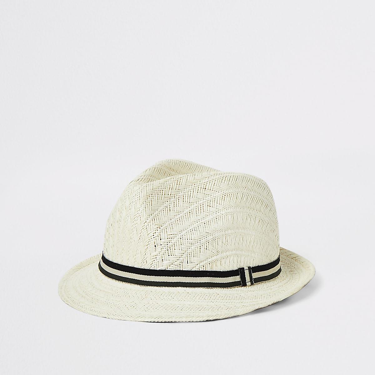 Mini boys light brown straw hat