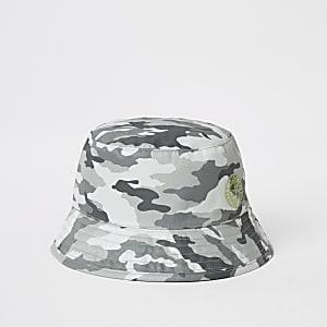 Grijze bucket hat met camouflageprint voor mini-jongens