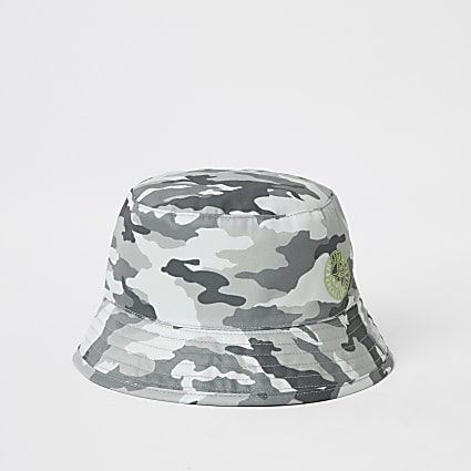 Mini boys grey camo bucket hat
