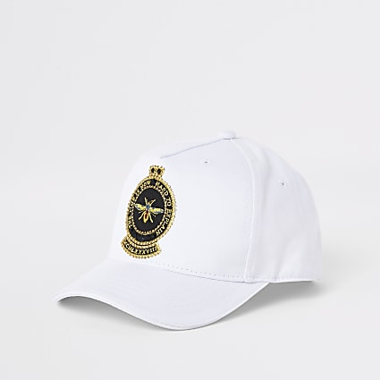 Boys white embroidered bee cap
