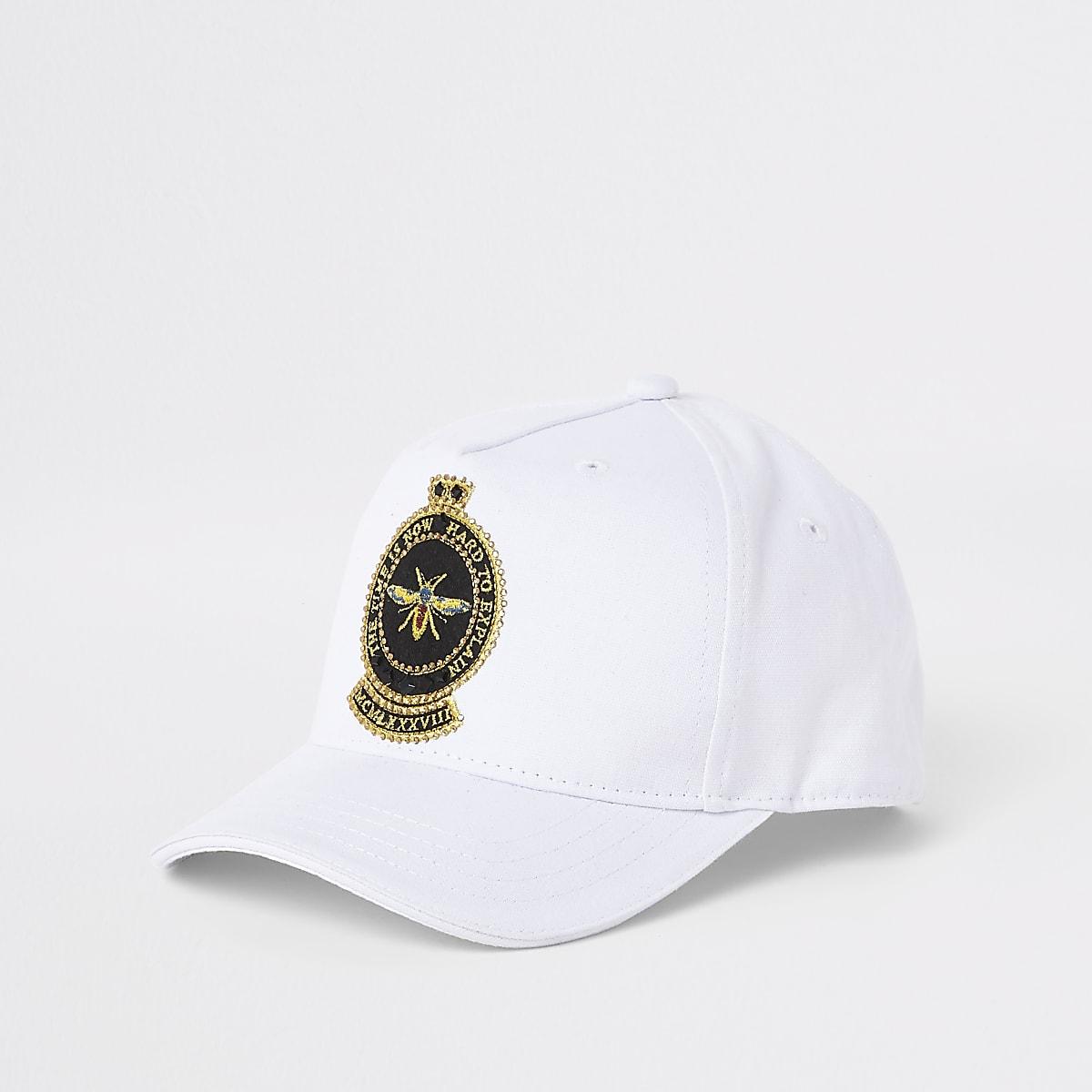 Casquette blanche à broderie abeille pour garçon