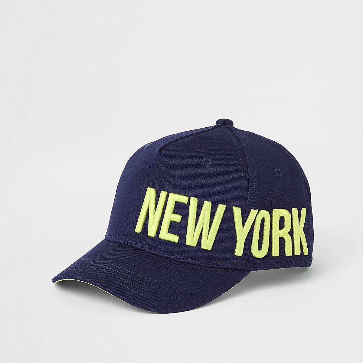Marineblauwe pet met 'New York'-print voor jongens