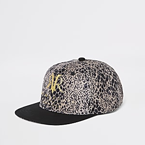 Boys brown leopard print cap