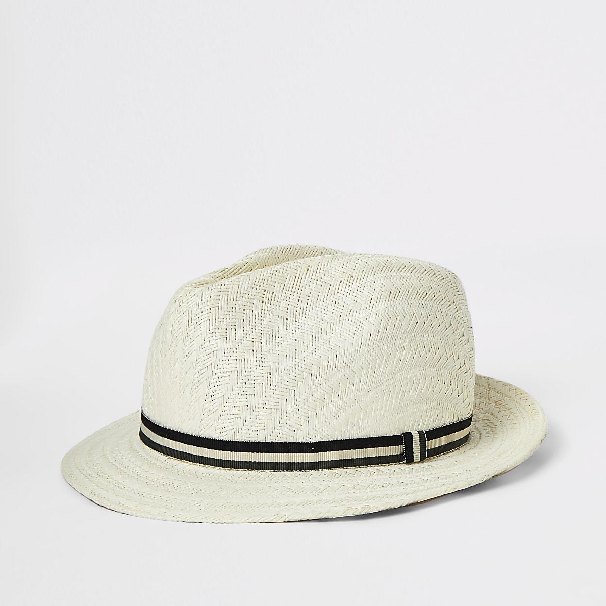 Boys light brown straw hat