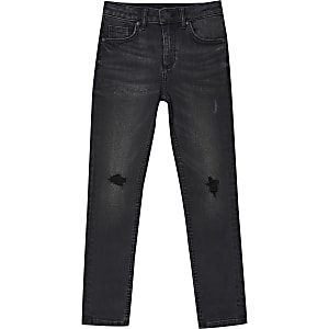 Boys black wash Sid ripped skinny jeans