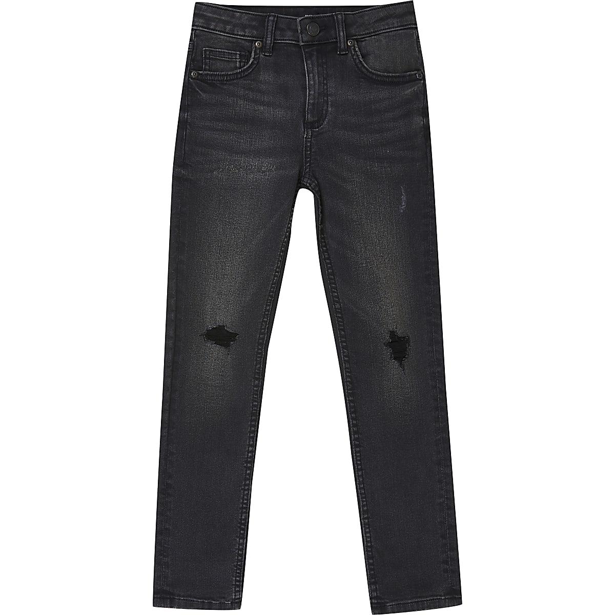 Boys black wash Sid ripped skinny jeans