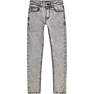Danny - Grijze acid wash superskinny jeans voor jongens