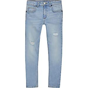 Danny - Lichtblauwe superskinny ripped jeans voor jongens
