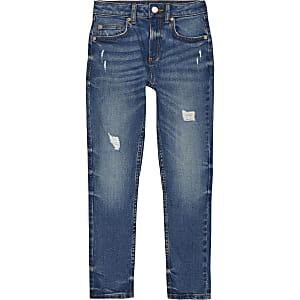 Boys dark blue Sid skinny rip jeans